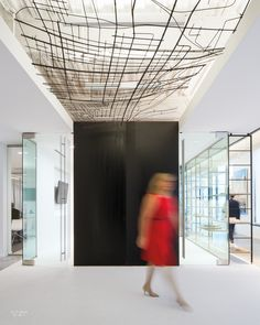 Firm: NBBJ. Site: Columbus, Ohio. Standout: The entrance to a glass-enclosed conference room is punctuated by a copper-wire canopy—actually a gestural rendering of the city's grid. Photography by Sean Airhart/NBBJ.