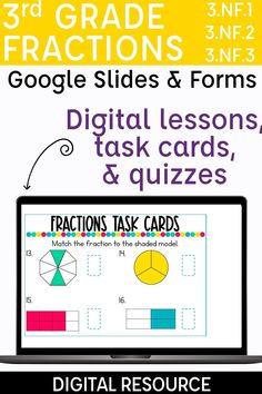 Looking for independent activities for your students to practice the 3rd grade fractions standards? These digital resources walk students through an interactive lesson, include digital task cards, and an easy grade formative assessment. Skills included are introducing fractions, fractions of a shape, fractions on a number line, fractions greater than one, equivalent fractions, whole numbers as fractions, and comparing fractions. Teaching fractions with digital centers has never been easier! 3rd Grade Fractions, Teaching Fractions, Comparing Fractions, Equivalent Fractions, Introduction To Fractions, Introducing Fractions, Third Grade Reading, Third Grade Math, Fraction Activities