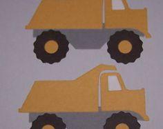2 Dump Trucks Scrapbooking Paper Die Cuts / Card Toppers