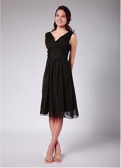 Graceful Silk-like Chiffon A-line V-neck Empire Waist Shirred Tea Length Black Bridesmaid Dress