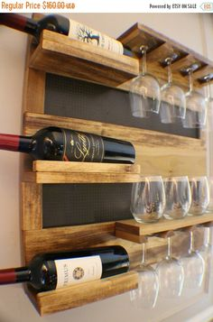 HOLIDAY SALE Georgous Golden Oak Stained Wall Mounted Wine Rack with Shelves and Decorative Mesh, Wine and Liquor Shelf and Cabinet