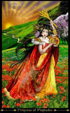 Erik C. Dunne ~ Tarot of the Illuminati: Princess of Pentacles