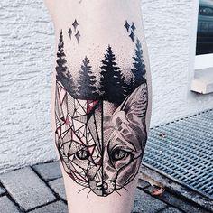 Beautiful dot and linework fox.  Artist: Jessica Kinzer, Rabauke Tattoo and Arts, Neu - Ulm, Germany.