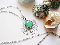 Ornament+mit+Chalcedon+Kette+Silber+925+von+flowerring+Schmuck+auf+DaWanda.com