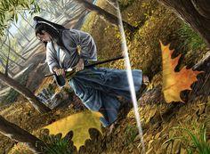 Asian art Strike Without Striking by caiocacau on DeviantArt Shuriken, Fantasy Inspiration, Character Inspiration, Elven Woman, Ninja, Samurai Artwork, Ink In Water, L5r, Greatest Mysteries
