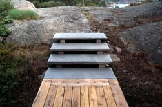 Stone steps with open risers; Summer House by Carl-Viggo Holmebakk