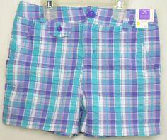 Bobbie Brooks Plaid Shorts Girls Size 8  Purple, Turquoise and White NWT #BobbieBrooks #Everyday