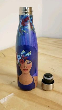 "Learn more about this stainless steel bottle featuring the art of Sylvia ""GBaby"" Cohen. #blackart..."