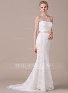 Trumpet/Mermaid Sweetheart Court Train Charmeuse Lace Wedding Dress With Sash Beading Flower(s) Bow(s) (002058772)