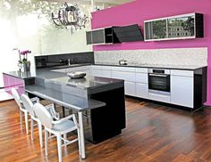 High Gloss Stainless Lacquered Oak w/ Black Glass Sliding Wall Units