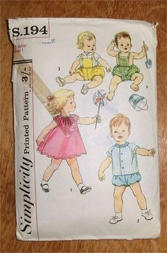 1950s babies dress and romper sewing pattern by sarasellsvintage, £3.00