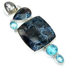 $64.85 Big! Stunning Black Pietersite, Swiss Blue Topaz Sterling Silver pendant at www.SilverRushStyle.com #pendant #handmade #jewelry #silver #pietersite