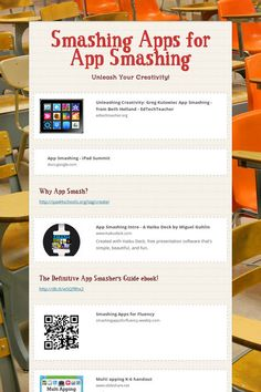 Smashing Apps for App Smashing - Unleash Your Creativity! by Wendy Goodwin 21st Century Classroom, 21st Century Learning, Free Presentation Software, Life Coach Quotes, Lab Tech, Money Quotes, School Classroom, Classroom Ideas, Educational Technology