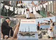 Vier taferelen op Urk: Vrouw in Urker streekdracht bij waslijn; Man in Urker streekdracht aan het netten boeten; Vissersschip; Vrouw, meisje en jongen in Urker streekdracht bij de haven. Voor 1975. #Urk