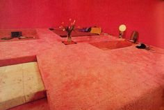 Pink 70s Conversation Pit Style Bedroom