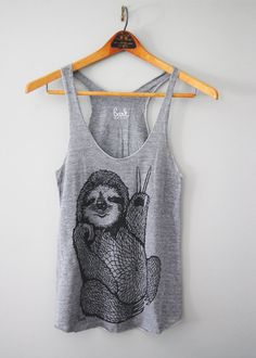 112453042 Peace Out Sloth - 5% Donated to Wildlife Conservation Network - womens racerback  tank top