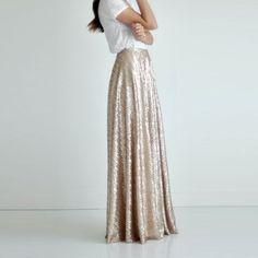 72a35c1ce7 Gold Sequin A Line Floor Length Long Maxi Skirt Bridesmaids Long Gold Skirt