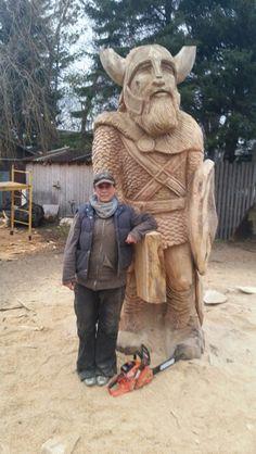 Chainsaw carved viking by Bobbi Switzer.