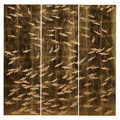A trio of wood panels is dusted with gold leaf and hand-carved into a flowing pattern of fish.   $299.00  #ZGallerie  #SchoolOfFishPanel