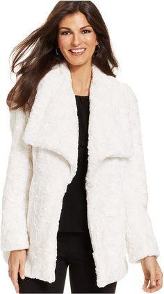 Karen Kane Faux-Fur Open-Front Coat