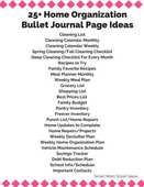 Do you use your bullet journal for home organization? Check out these home organization bullet journal page ideas to keep your home clean and organized. Organization Bullet Journal, Home Organization, Journal Pages, Journal Ideas, Bullet Journal How To Start A, Organizing Tips