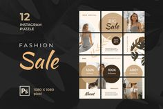 Instagram Puzzle – Big Fashion Sale, is a professional, modern and elegant template for your Instagram posts and Gallery. Inspirational Posts, model photography, product Gallery, introduce your brand and more. With this Instagram post template, you can easily improve the quality of your Instagram with a more attractive and professional one.This template is fully editable and can be customized in Adobe Photoshop. It's very simple to use these template in Photoshop. Just edit texts and put… Instagram Creator, Instagram Plan, Instagram Banner, Free Instagram, Instagram Posts, Creative Photoshop, Ads Creative, Adobe Photoshop, Instagram Frame Template