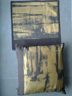 Pillows 5 batik on gold shantung silk