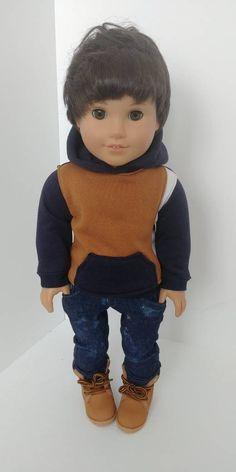 American Boy Doll, American Girl Clothes, 18 Inch Boy Doll, Boy Doll Clothes, Doll Outfits, Make Art, Blue Brown, Clothing Patterns, Cute Boys