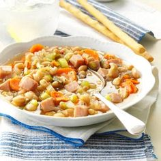 Navy Bean Vegetable Soup Recipe -My family likes bean soup, so I came up with this hearty version. The leftovers freeze well for first-rate future meals. —Eleanor Mielke, Mitchell, South Dakota