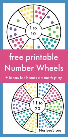 Free printable number wheels for hands-on counting activities, one to twenty number printable