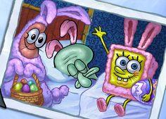 Happy Easter everyone from SpongeBob Patrick and Squidward Wie Zeichnet Man Spongebob, Spongebob Cartoon, Spongebob Drawings, Spongebob Patrick, Spongebob Memes, Spongebob Squarepants, Spongebob Friends, Wallpaper Spongebob, Cartoon Wallpaper Iphone