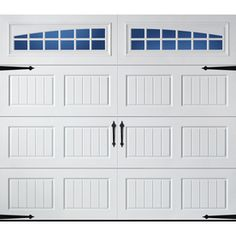 Pella Carriage House x Insulated White Garage Door with Windows. Wish the windows were rectangle instead of rounded, but all of the doors in this style with boxy windows were double in price. Carriage Style Garage Doors, White Garage Doors, Single Garage Door, Garage Door Windows, Wooden Garage Doors, Carriage Doors, Garage Door Styles, Front Doors, Front Porch