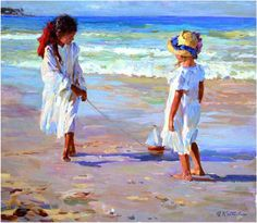 Yuri Krotov - Little girls on the beach. (via True Art Gallery) Seaside Art, Beach Art, Anime Comics, Illustrations, Illustration Art, Yuri, Russian Painting, Academic Art, Am Meer