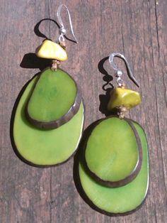 Amazonian Green Tagua Seeds Earrings $15