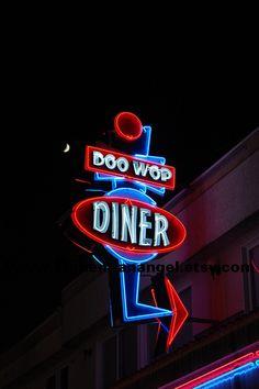 Doo Wop Diner under the Moon in Wildwood New Jersey