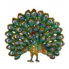 "4.5"" Enamel and Rhinestone peacock Brooch - Polyvore"