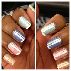 Half striped! Nails