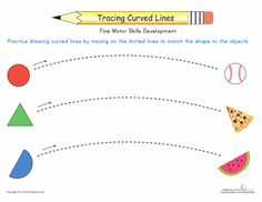 Worksheets: Curved Line Tracing: Match the Shapes and Objects