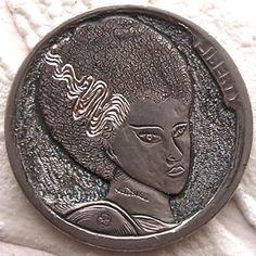 Finn La Rue - Bride of Frankenstein Hobo Nickel, Bride Of Frankenstein, Hand Engraving, Coins, Carving, Buffalo, Creepy, Cactus, Characters