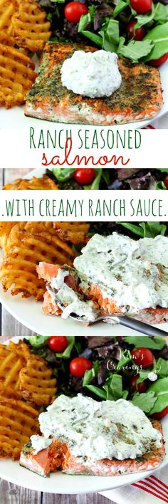 Ranch Seasoned Salmon is seared to perfection and incredibly tasty thanks to my homemade ranch seasoning mix and topped with Creamy Ranch Sauce. Serve with @AlexiaFoods Seasoned Waffle Cut Fries and a simple salad, this wonderful balanced meal comes together in under 30 minutes! #FarmToFlavor #AD