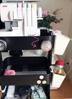 For this I had an idea, since I live in a small apartment and cannot own a proper sewing studio, how about I have all my sewing gear in a sweet little sewing trolley? Raskog Cart, Ikea Raskog, Craft Room Decor, Craft Room Storage, Craft Rooms, Ikea Cart, Black And White Baby, Ikea Hackers, Sewing Studio