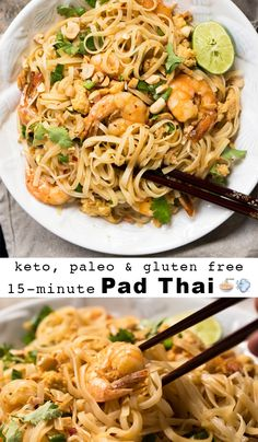 Paleo & Keto Pad Thai with shirataki noodles Suuuper easy, quick and just 2g net carbs! #ketopadthai #shirataki
