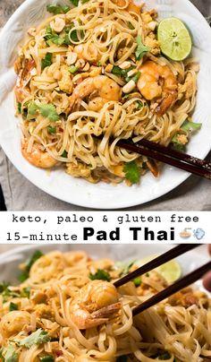 Paleo & Keto Pad Thai with shirataki noodles 🍜 Suuuper easy, quick and just 2g net carbs!  #ketopadthai #shirataki