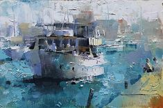 On Lake Michigan by Mark Lague Oil ~ 8 x 12