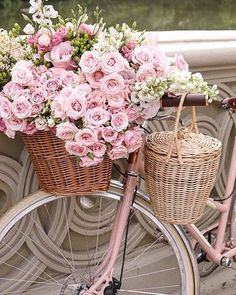 Sommer, rosa Blumen & ein rosa Fahrrad - was für eine schöne Kombination. The Effective Pictures We Offer You About decor baskets fillers A quality picture can tell you many things. You can find the m Fresh Flowers, Pink Flowers, Pretty In Pink, Beautiful Flowers, Romantic Flowers, Beautiful Soul, Vintage Flowers, Vintage Pink, Pink Flower Pictures