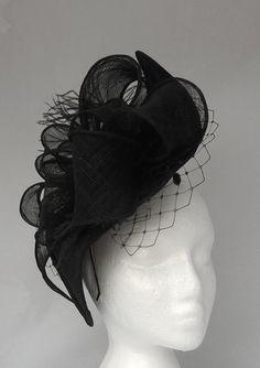 Black Natalie Diamond Shaped Fascinator / Headpiece - perfect for Weddings, Ascot Ladies day