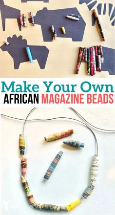 Create and make your own African magazine beads! Gather your old magazines and recycle them into cool beads that your kids can make! Diy African Jewelry, African Crafts, African Beads, Craft Stick Crafts, Bead Crafts, Magazine Beads, Art For Kids, Crafts For Kids, Beading For Kids