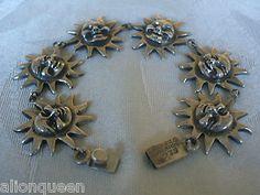 Vintage Taxco Mexico Sterling Silver 925 Link Bracelet Happy Sun Face | eBay