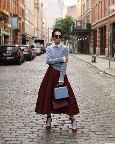 Blair Eadie, Atlantic Pacific, 50s Dresses, Color Combinations, New Look, Midi Skirt, Street Style, Chic, Womens Fashion
