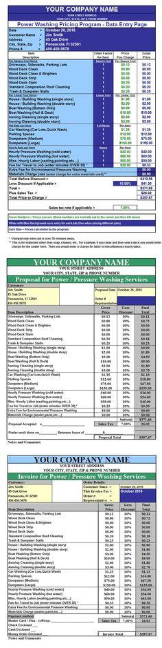 POWER-CALC Pressure Washing Invoice  Pricing Spreadsheet Program